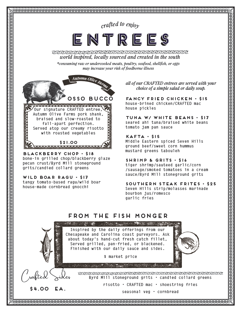 entrees - crafted to enjoy