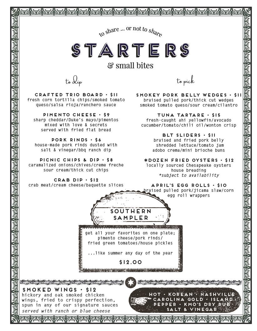 A list of our appetizers & meal starters