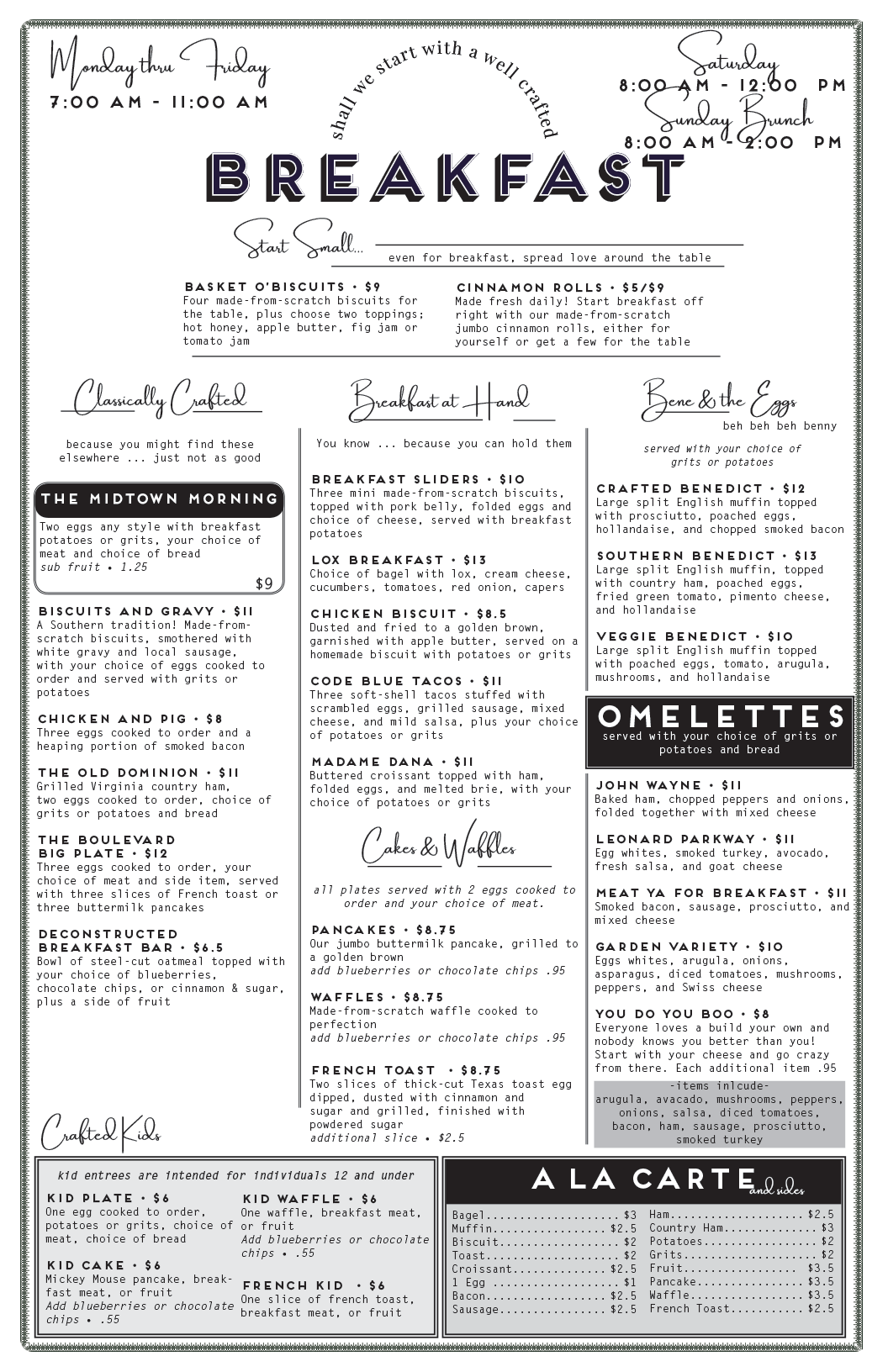 The front side of our breakfast menu