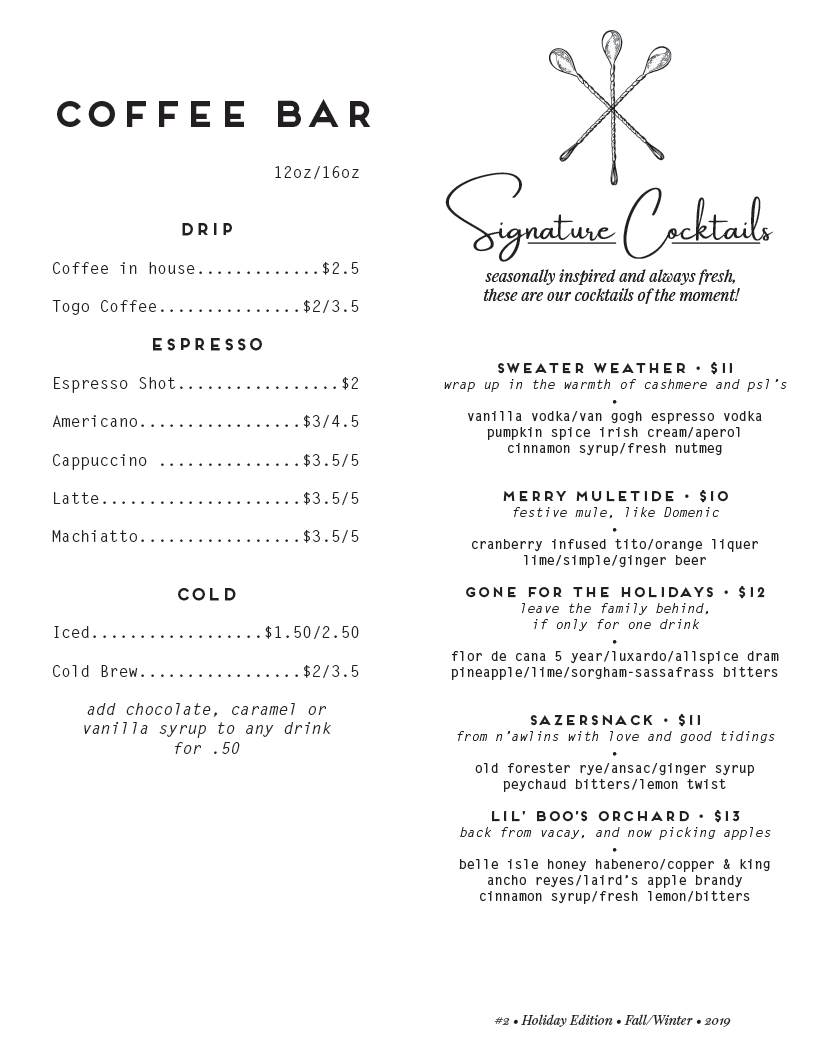 coffee and signature cocktails