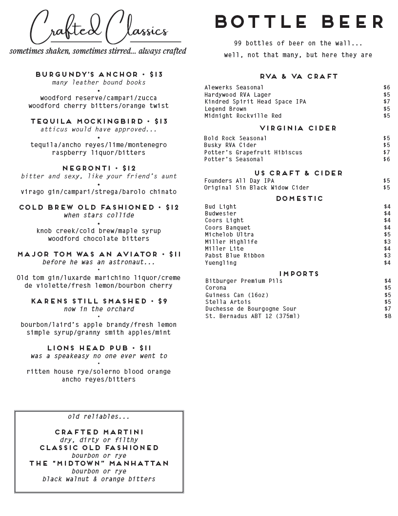classic cocktails and beer list