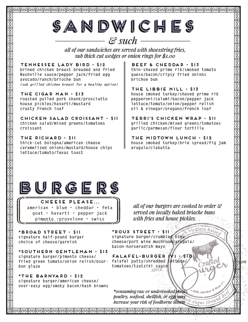 Our Sandwich & Burger offerings