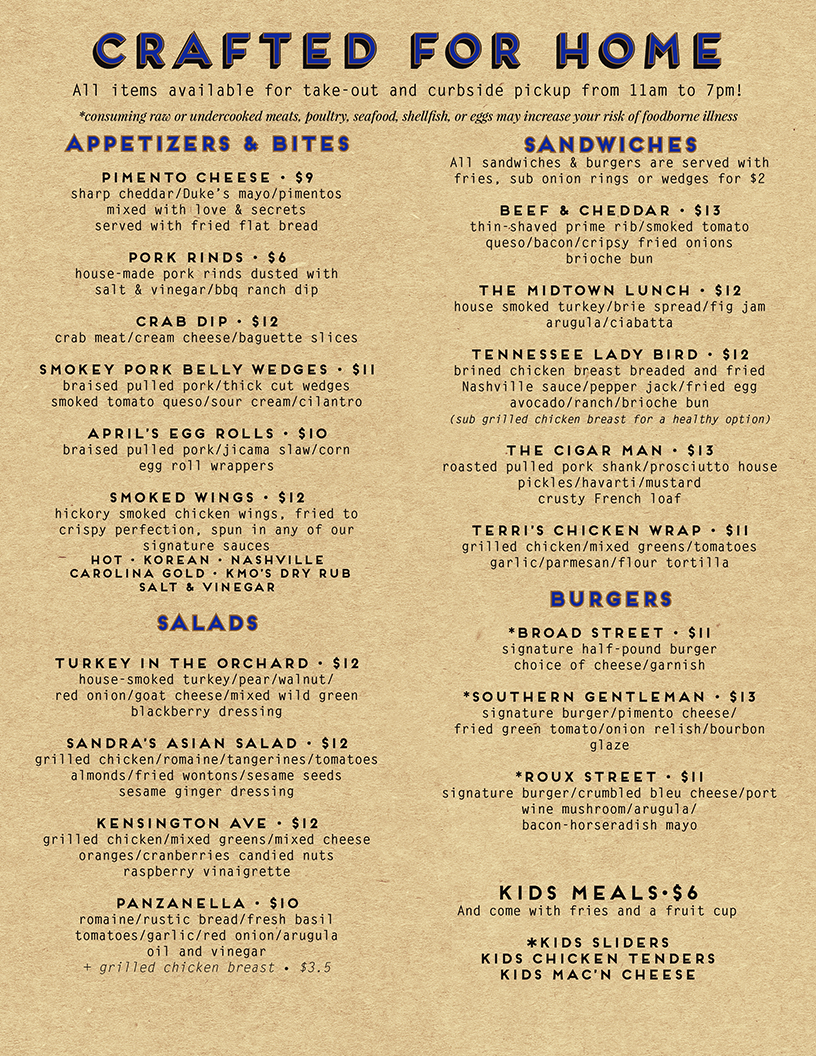Crafted Restaurant to-go menu
