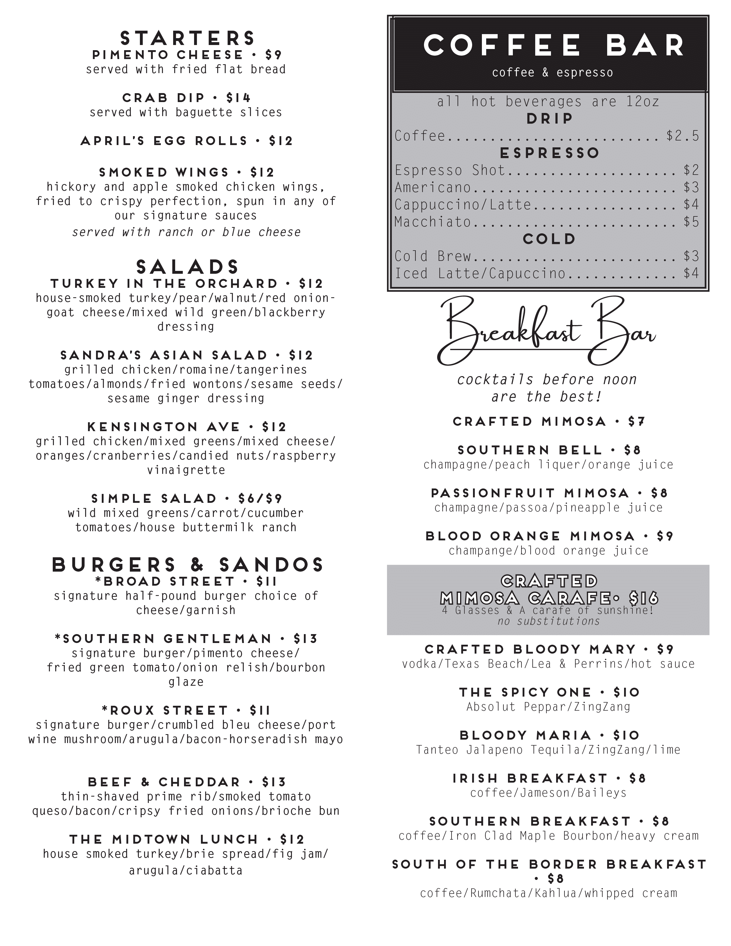 second page of brunch menu